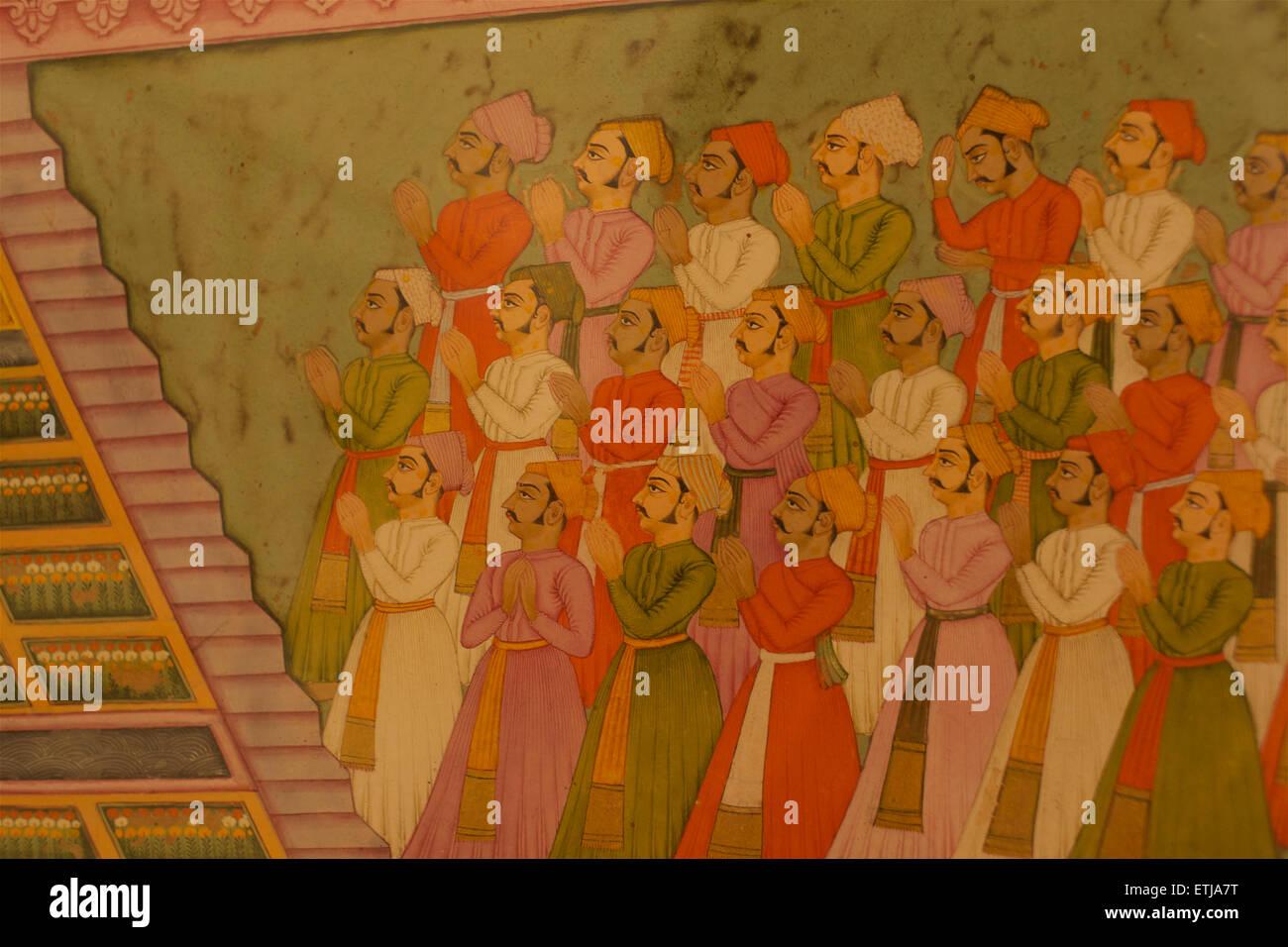 Detail of classical Indian painting Mehrangarh Fort, Jodhpur, Rajasthan, India - Stock Image