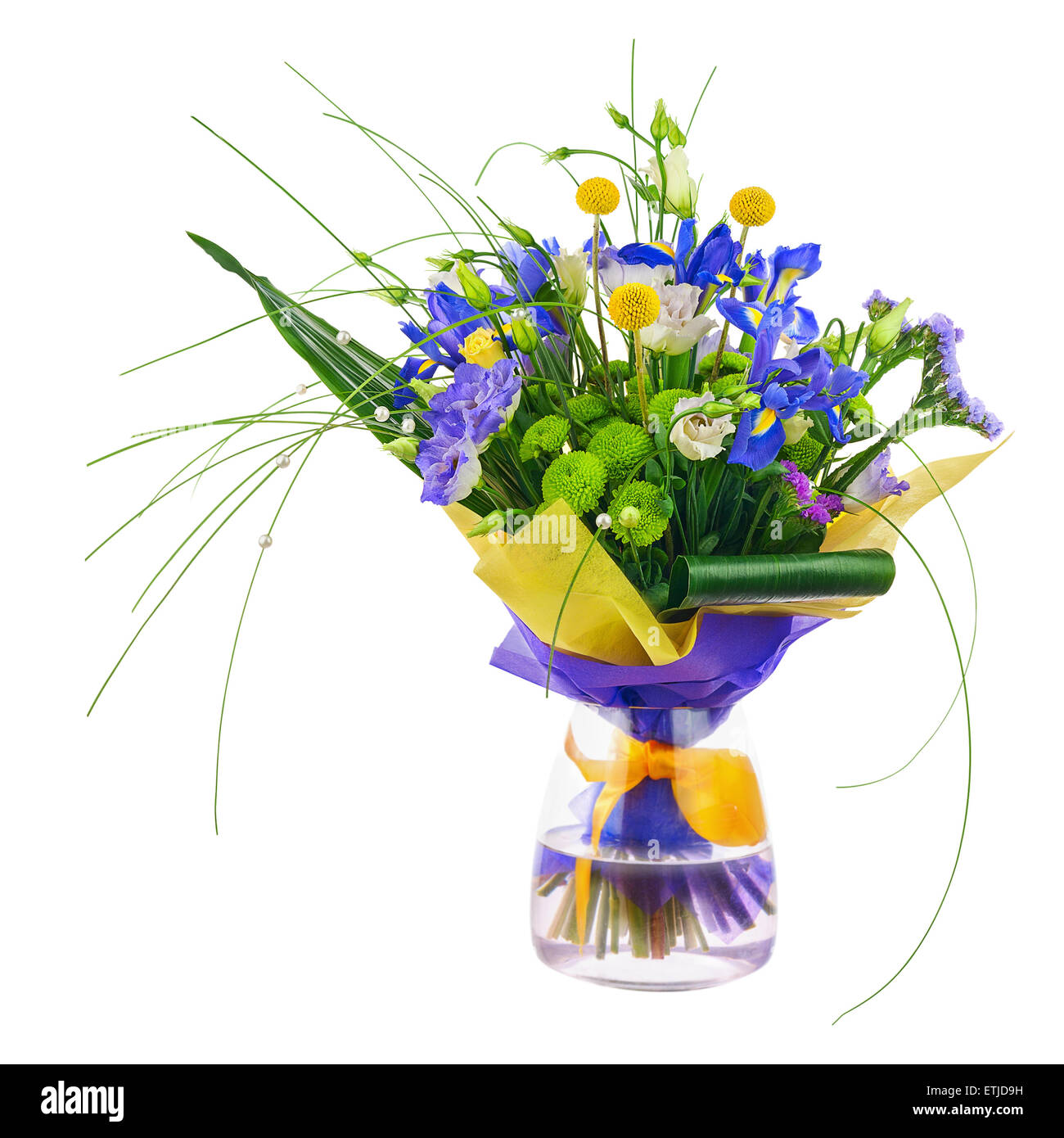 Flower bouquet from roses, green carnation, iris and statice flowers ...