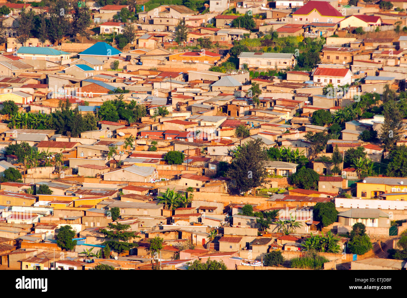 View of southeastern suburbs from KN 7 Avenue, Kigali, Rwanda - Stock Image