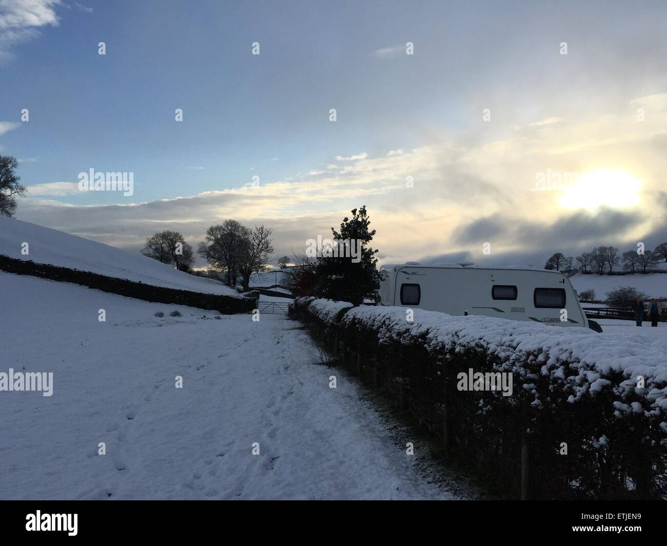 Parts of Northern England experience heavy snowfall on the first day of spring.  Many holiday parks opened for the - Stock Image