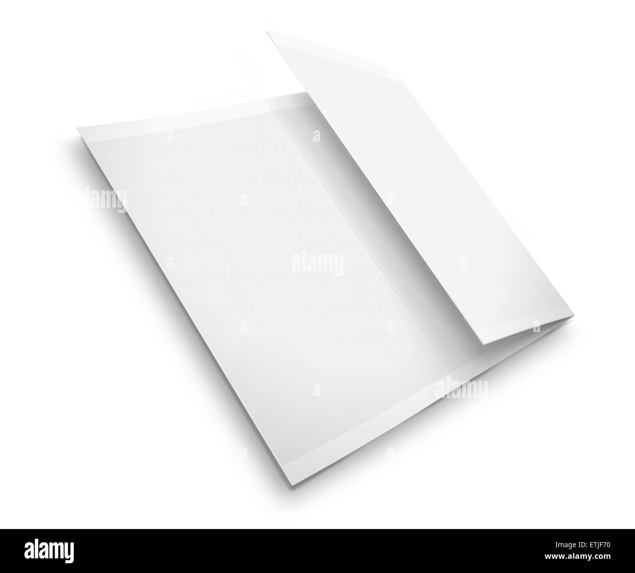blank trifold brochure zigzag folded flyer isolated on white background with shadows highly detailed