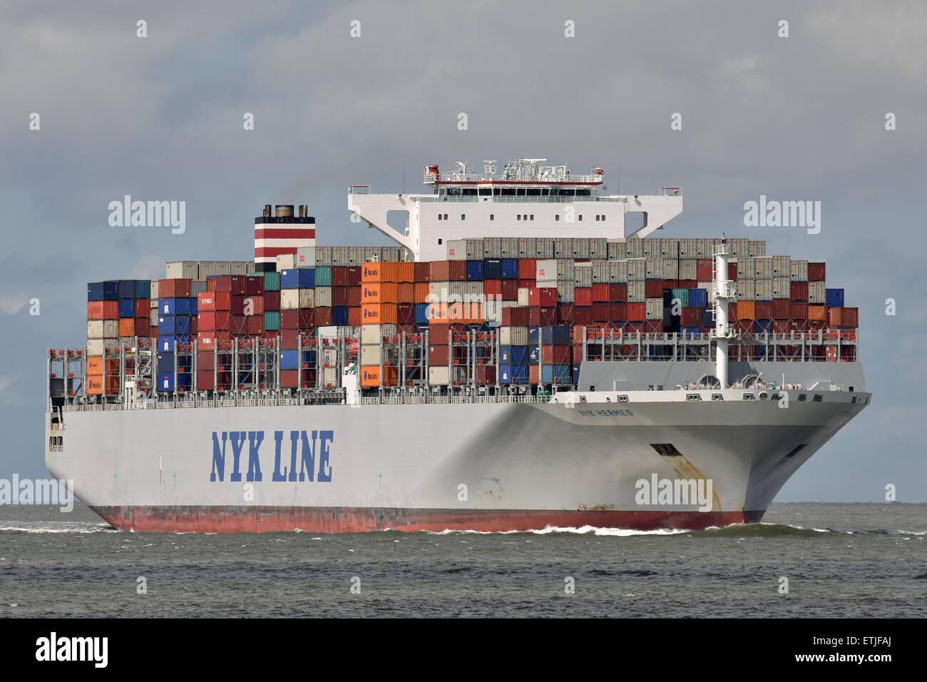 NYK Hermes passing Cuxhaven bound for Hamburg - Stock Image