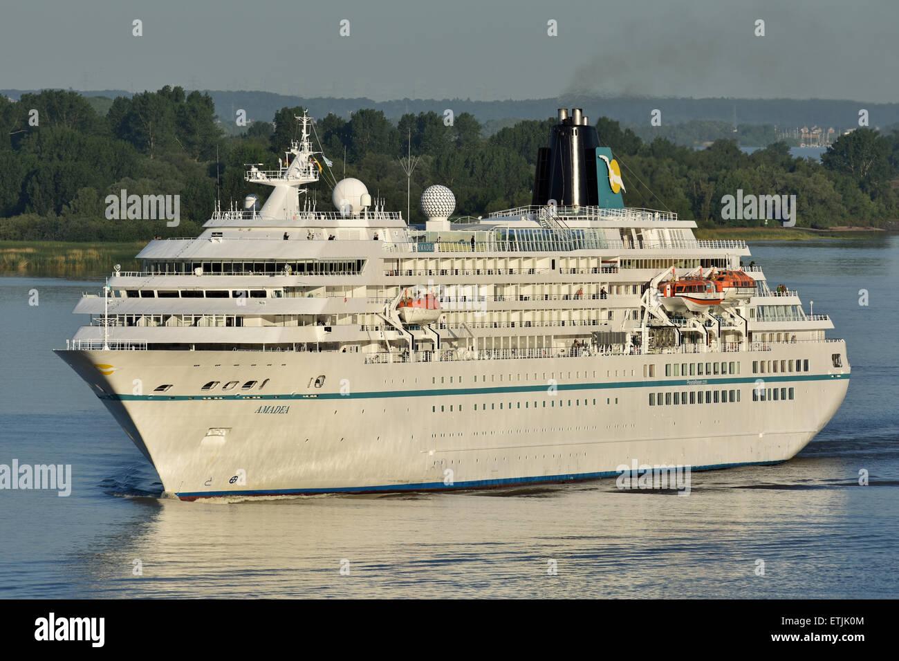 Amadea arriving at Hamburg - Stock Image