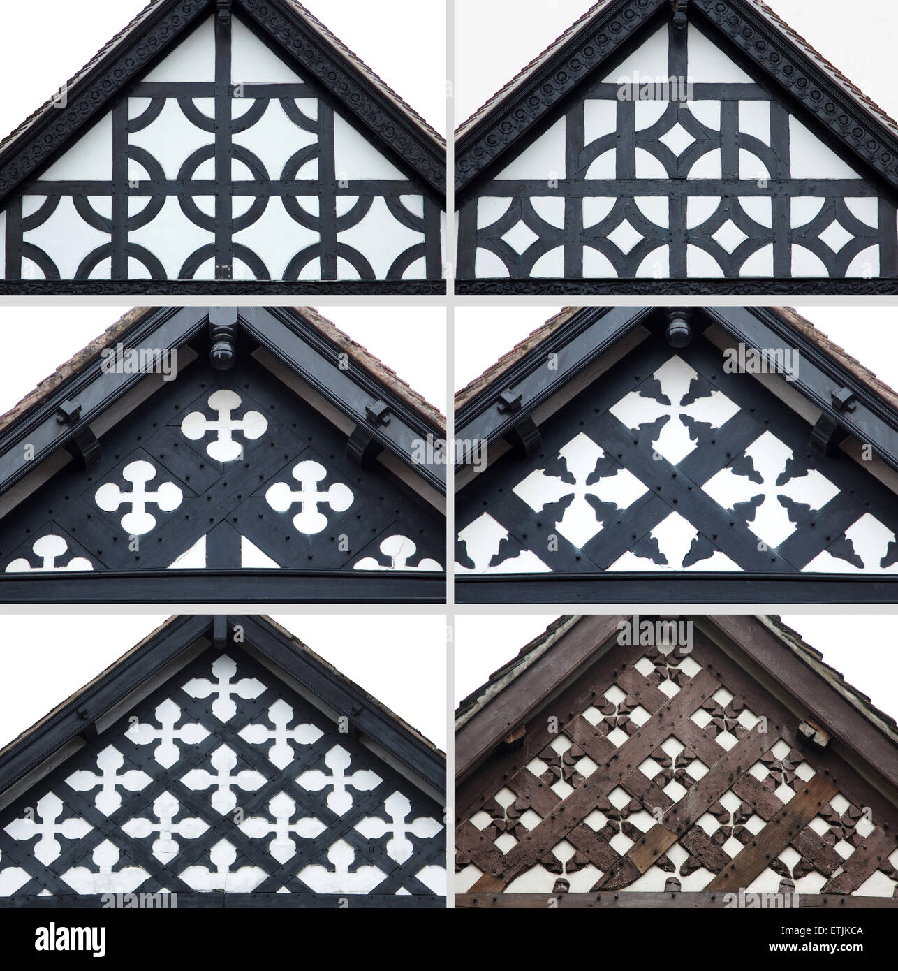 Stock Photo Decorative Gable Ends Of Tudor Houses In Chester England 84003594 on English Tudor Design
