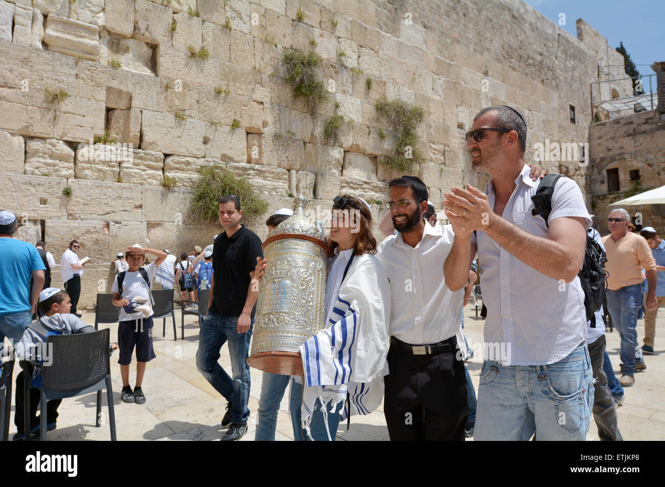 JERUSALEM, ISR - MAY 05 2015:Bar Mitzvah ritual at the Wailing wall in Jerusalem, Israel.Boy who has become a Bar - Stock Image