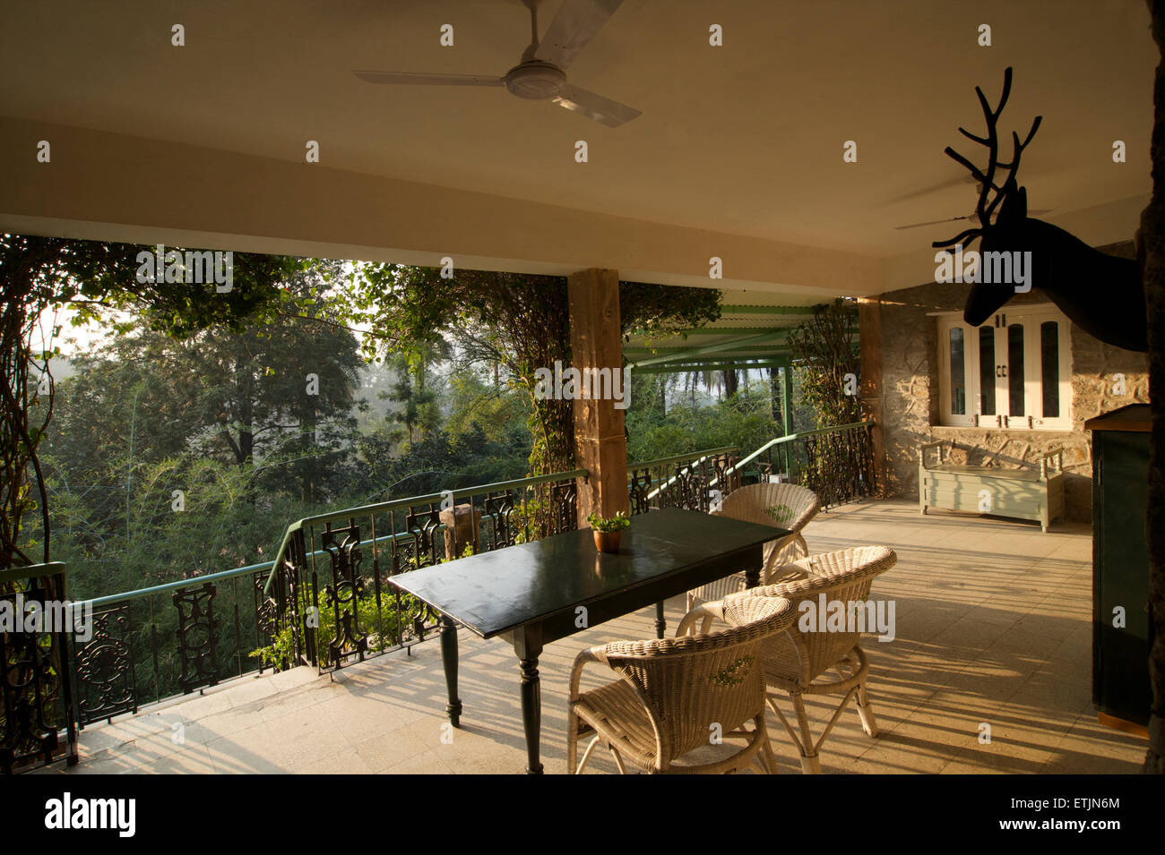 Terrace, Connaught House Heritage hotel, Mount Abu, Rajasthan, India - Stock Image