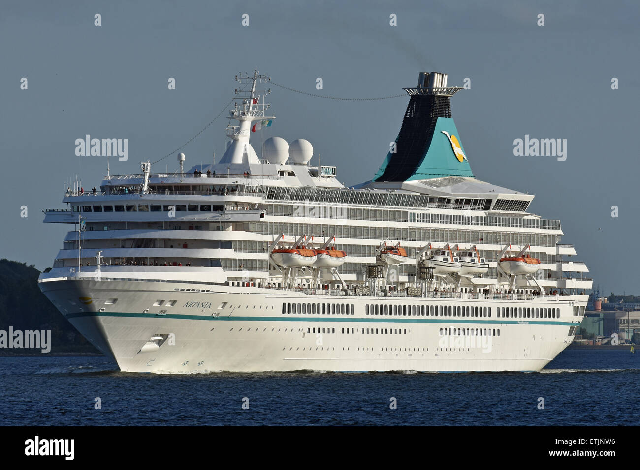 Artania leaving Kiel for a baltic cruise - Stock Image