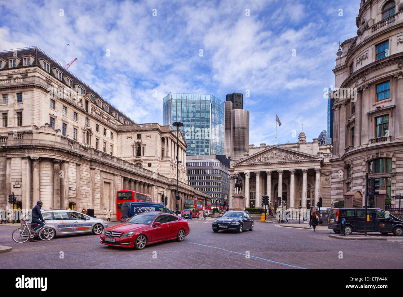 Traffic in Threadneedle Street, London, with the Bank of England, and the Royal Exchange,day,city,UK, - Stock Image