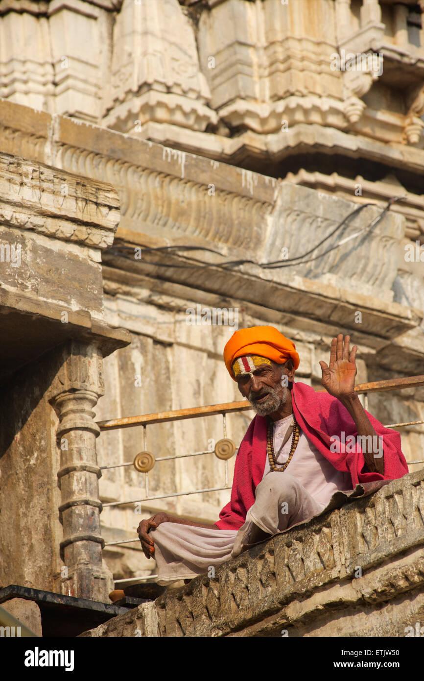 Sadhu at Jagdish Temple, Udaipur, Rajasthan, India - Stock Image