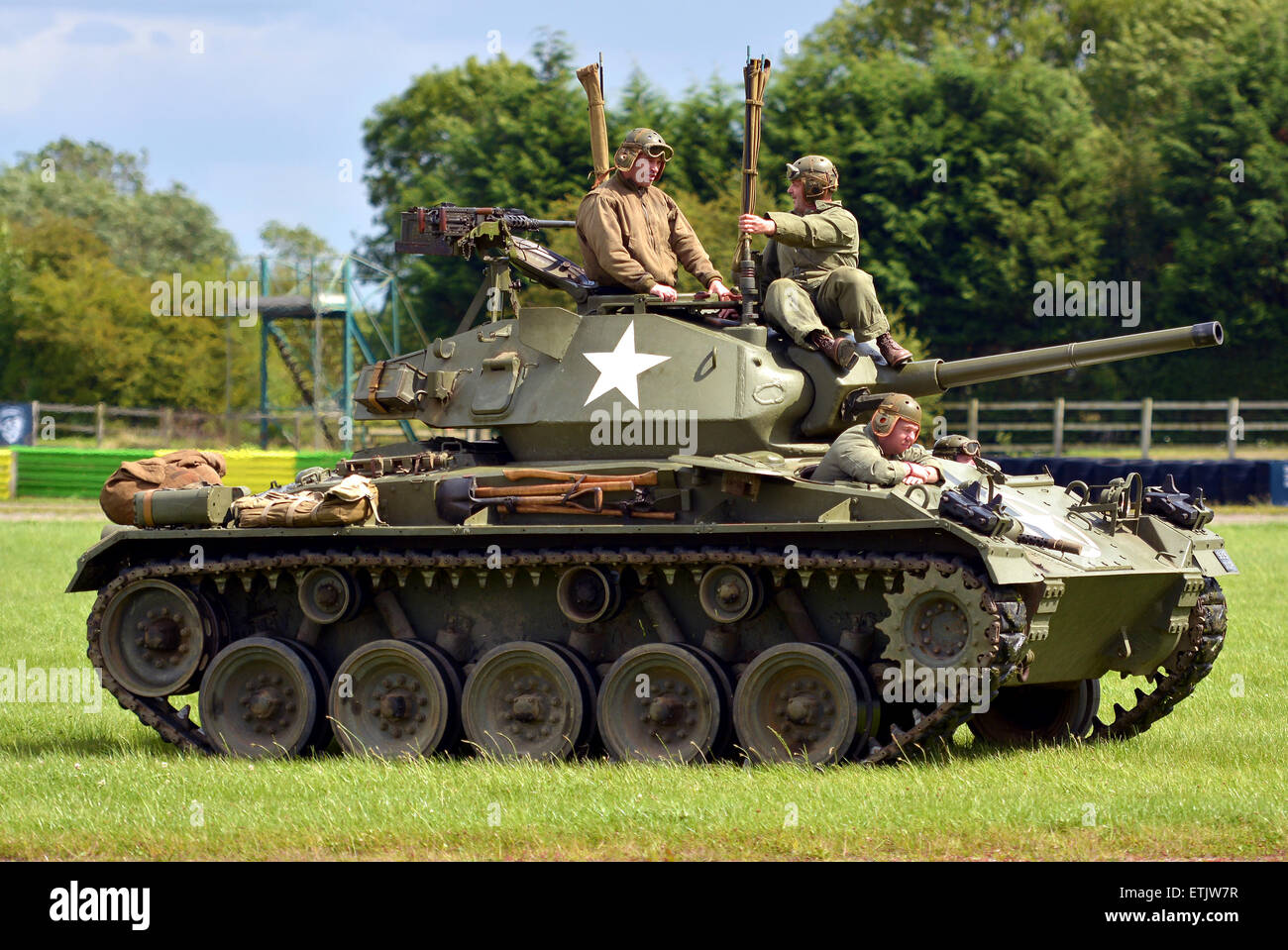 World War Two American Chafe Tank and crew ,world war 2 display at the Croft in Darlington 2016 - Stock Image