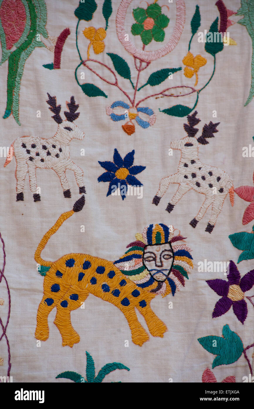 Embroidered textile depicting tigers. Rajasthan, India - Stock Image