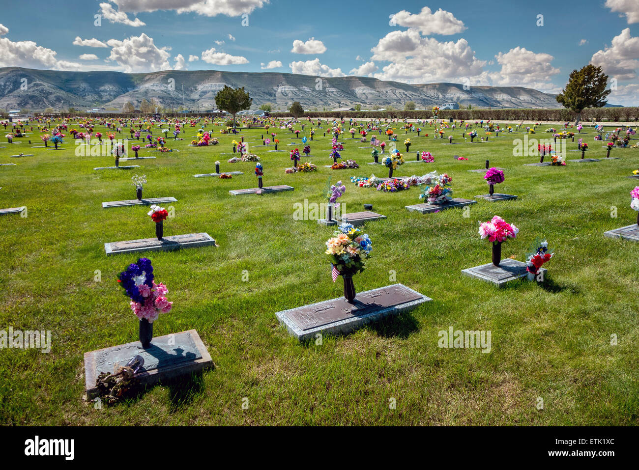 A cemetery filled with silk flowers in rock springs wyoming stock a cemetery filled with silk flowers in rock springs wyoming mightylinksfo