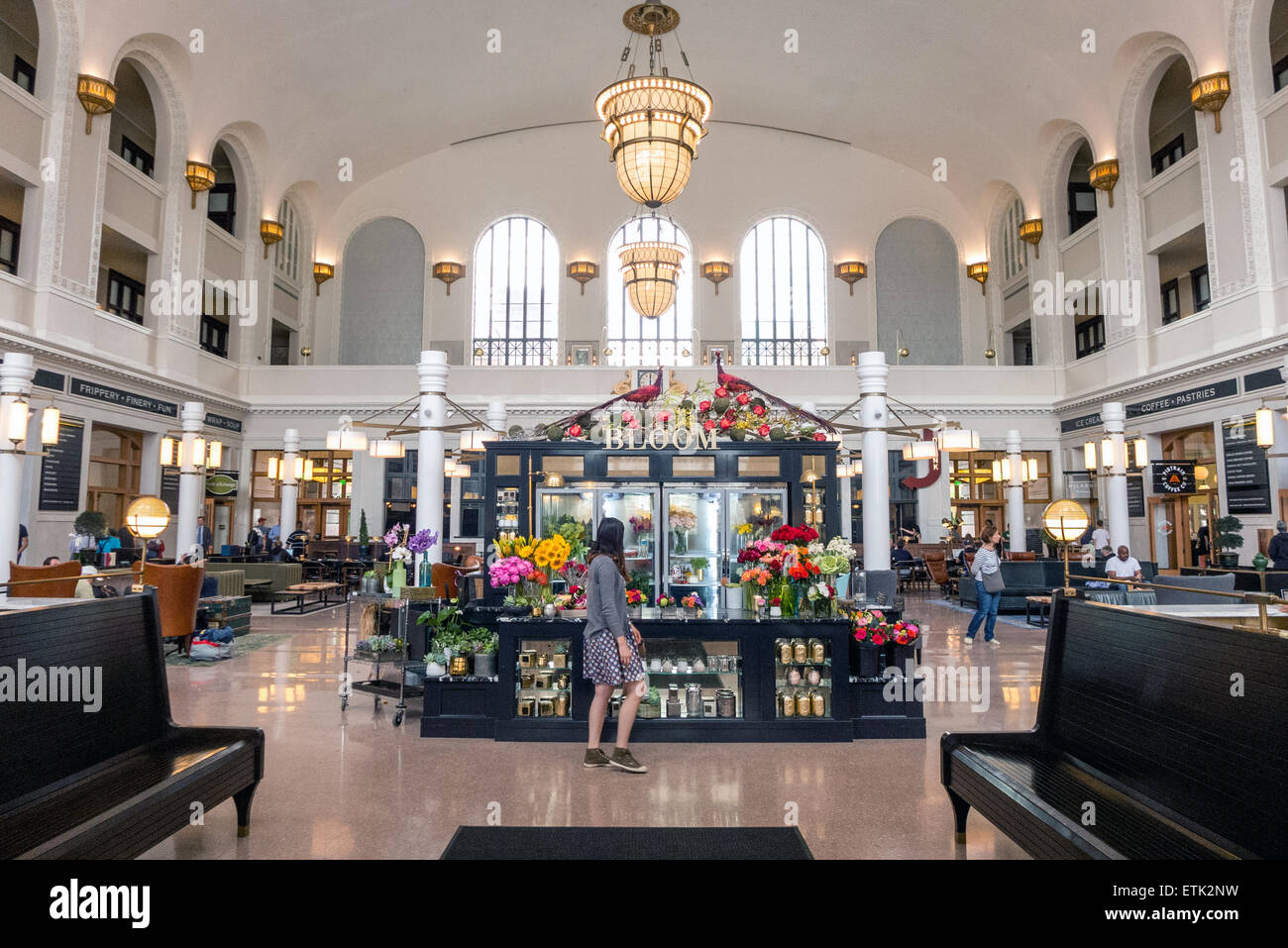 Inside the renovated Union Station in Denver Colorado - Stock Image