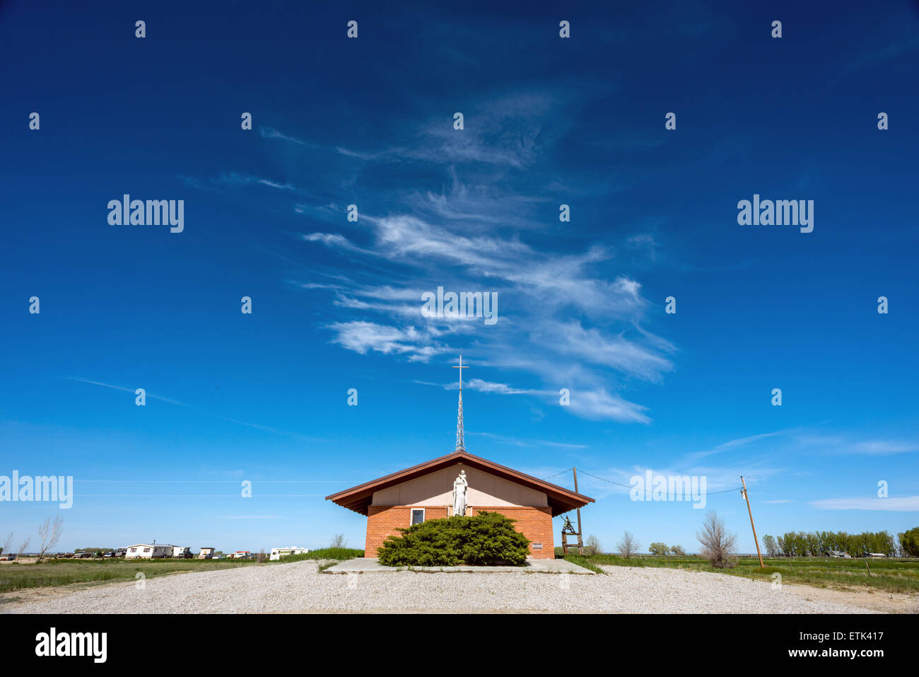 Church building in rural Wyoming USA Stock Photo
