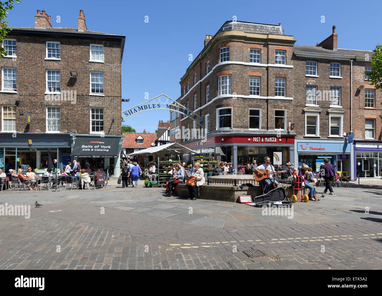 Entrance to Shambles Market from Parliament St York - Stock Image