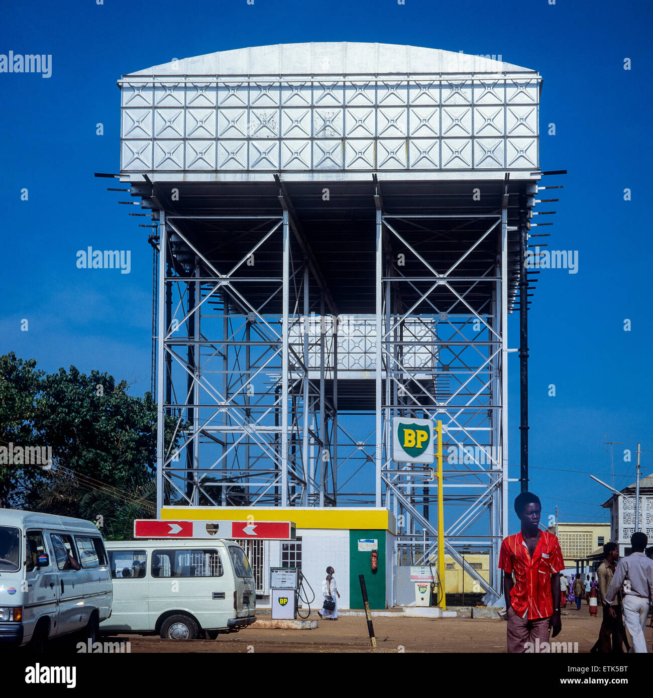 BP Petrol station with raised tanks, Banjul, Gambia, West Africa - Stock Image