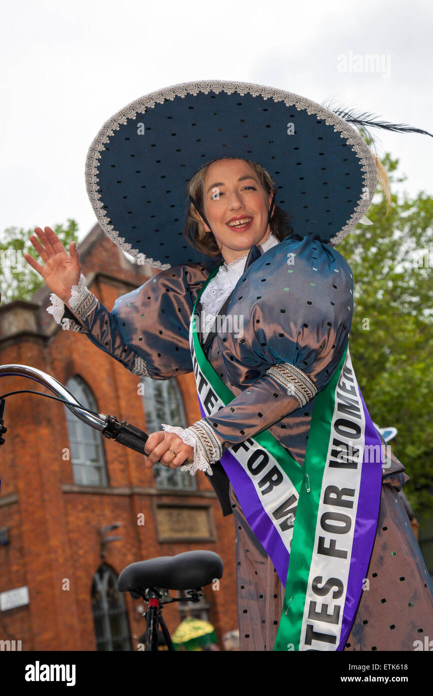 Votes for women suffrage, a woman seeking the right to vote through organized protest. Suffragettes fancy dress - Stock Image