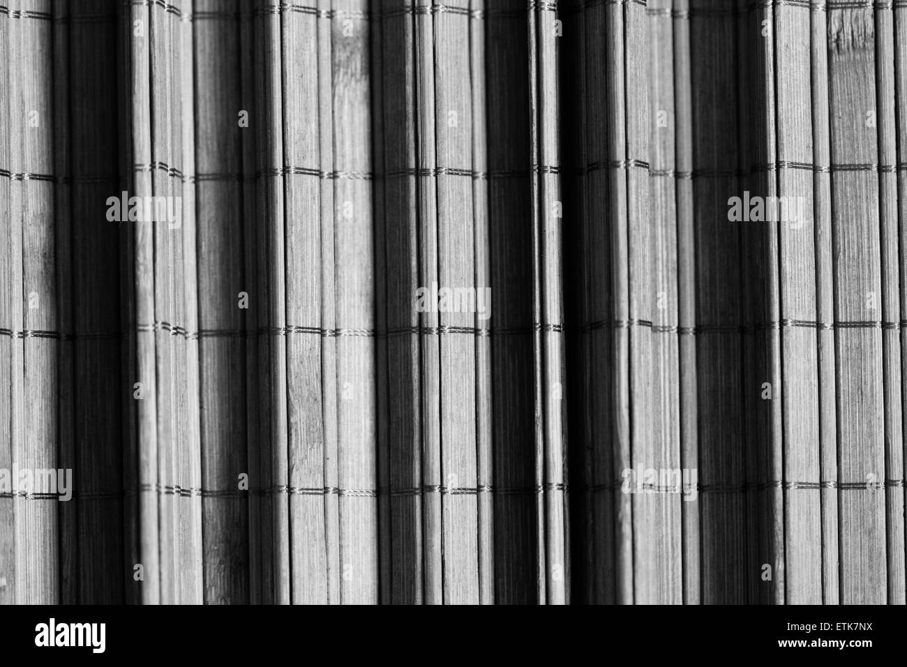 Black and white image of bamboo mat background pleated. Abstract - Stock Image