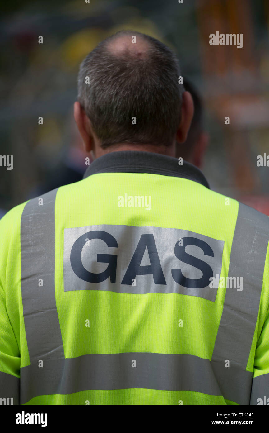 A gas engineer at work. - Stock Image