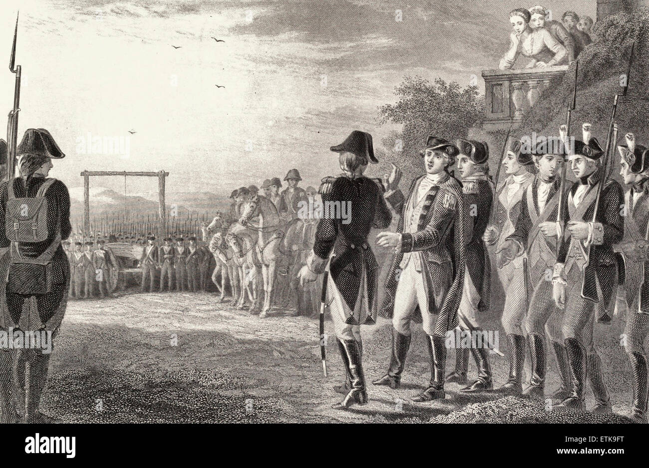 Last moments of Major Andre, English Spy during the American Revolution, 1780 - Stock Image