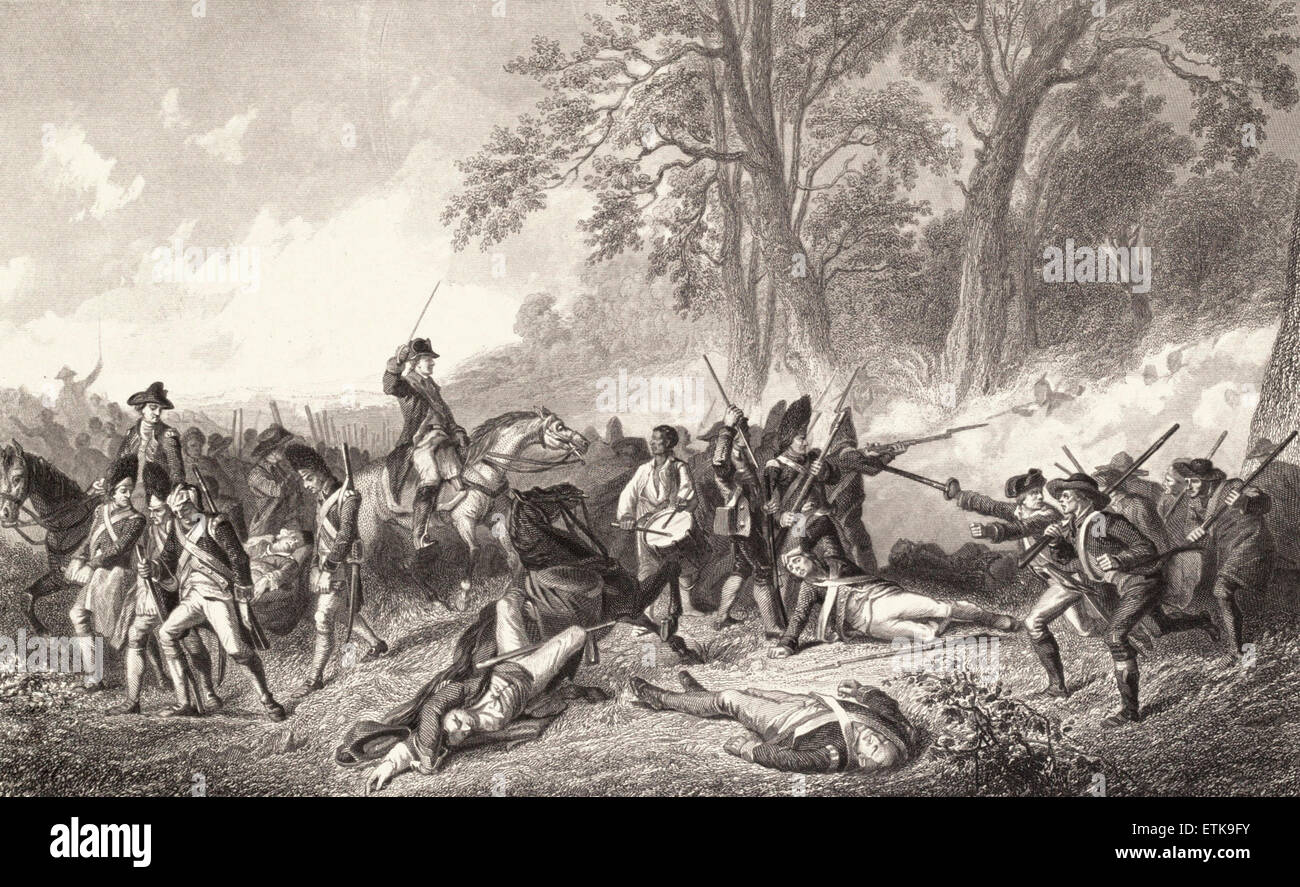 The Fall of Edward Braddock during the French and Indian War, 1755 - Stock Image