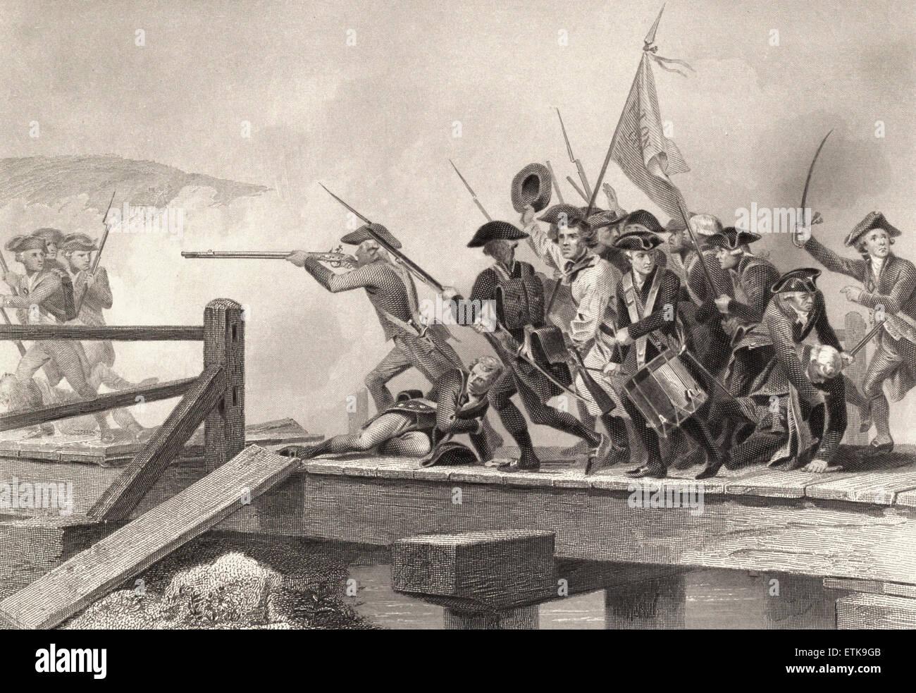 Struggle on Concord Bridge, Battle of Concord, American Revolution - Stock Image