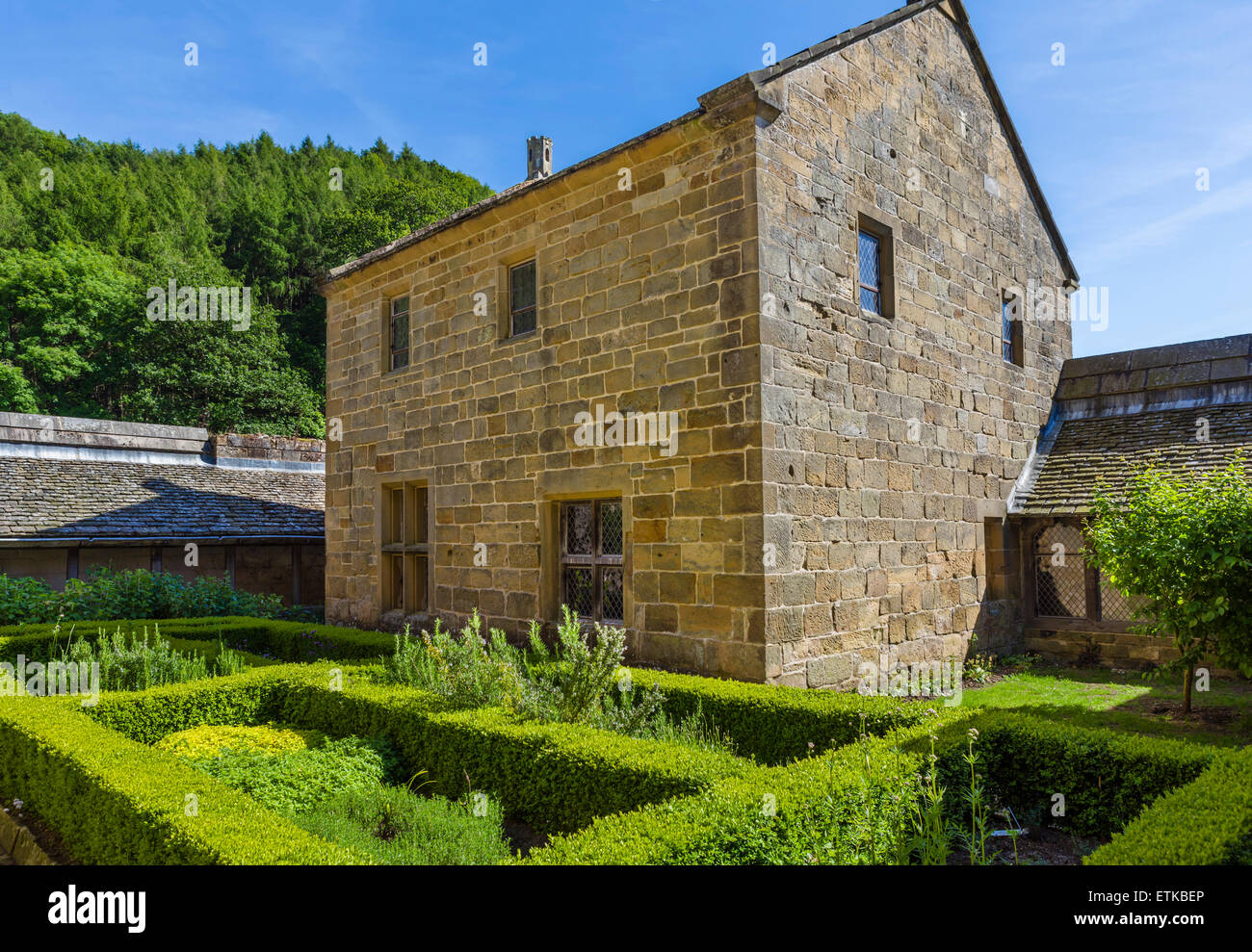 View from private garden of a reconstructed monk's cell in the Carthusian priory of Mount Grace, North Yorkshire, - Stock Image