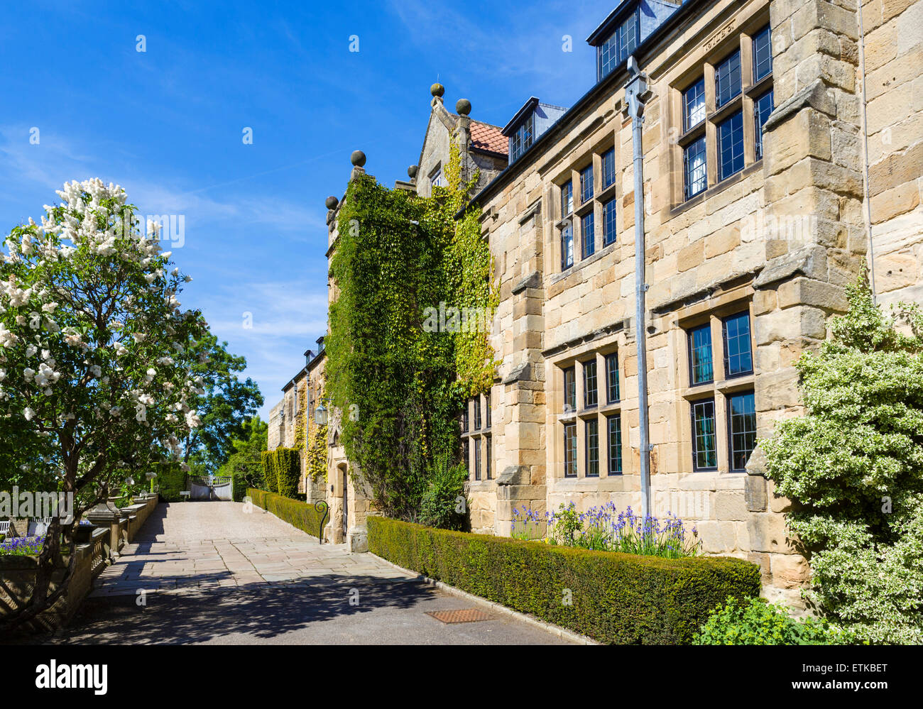 The front of the manor house at Mount Grace Priory, Osmotherley, near Northallerton, North Yorkshire, England, UK - Stock Image