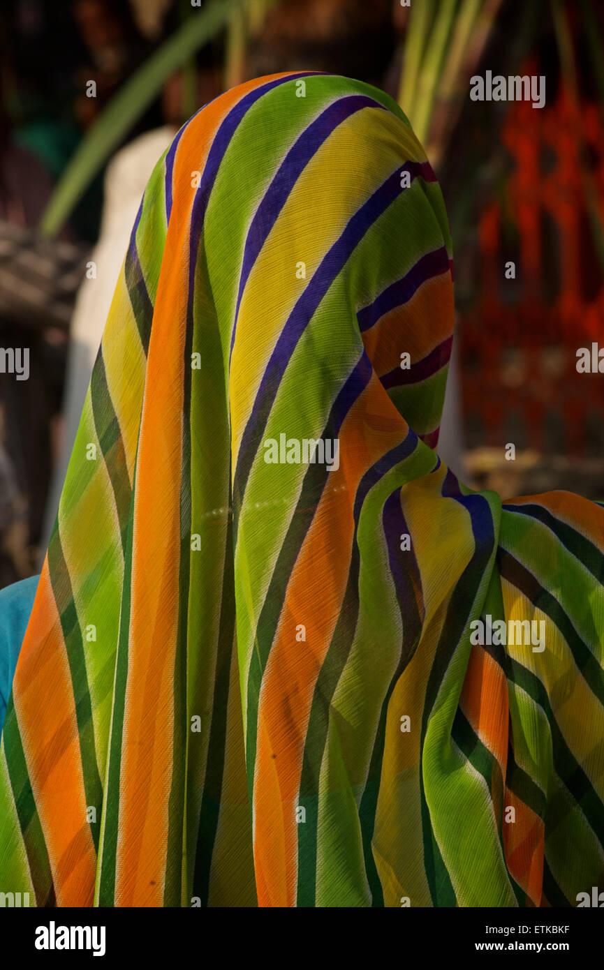 Indian woman wearing a colourful sari,  Jaipur, Rajasthan, India - Stock Image