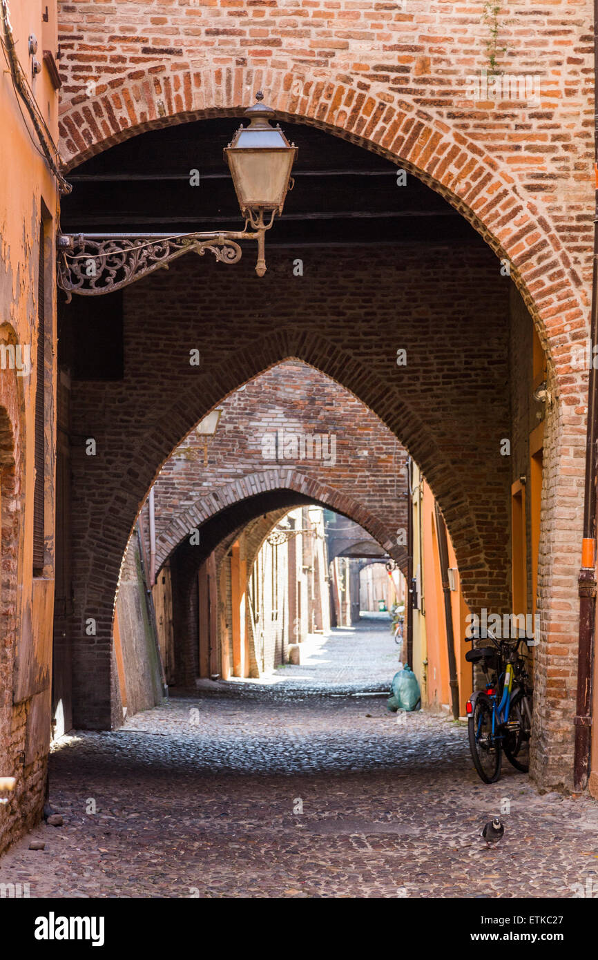 detail of arched passageway, old town, Ferrra, Italy - Stock Image