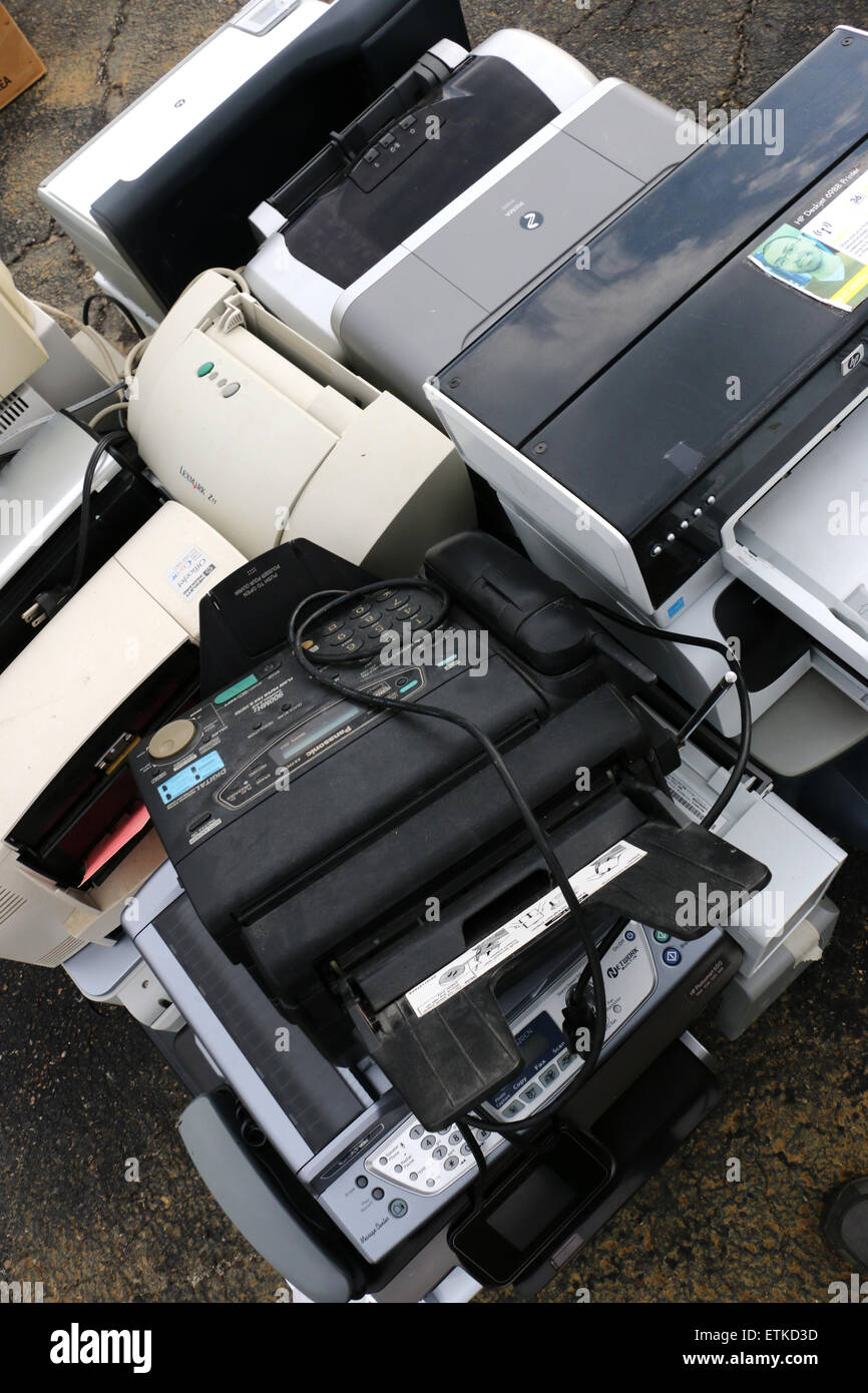 Old outdated electronics recycling Ohio monitor printer laptop computer television - Stock Image
