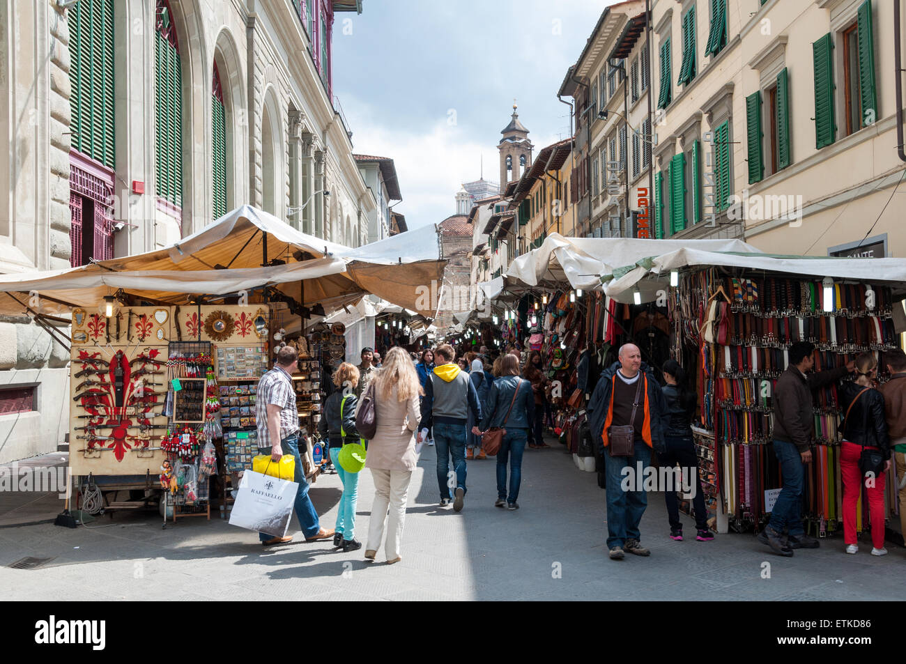 Merchants at the Mercato Centrale market in Florence, Italy - Stock Image