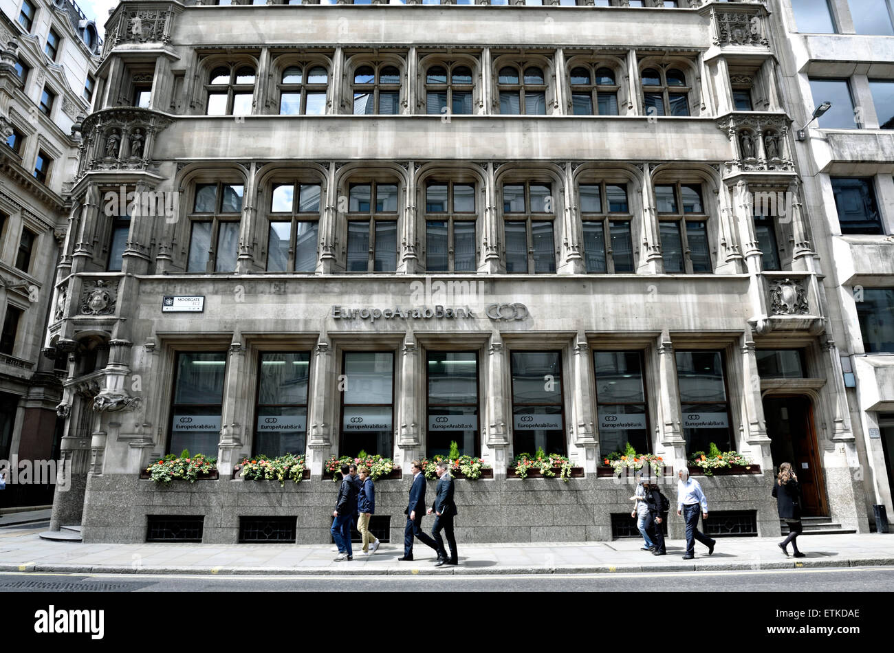 Europe Arab Bank with people passing Moorgate City of London England Britain UK - Stock Image