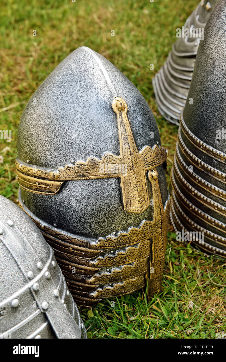 DEURNE, BELGIUM-JUNE 13, 2015: Exposed for sales on medieval market reconstructions of casques of knights - Stock Image