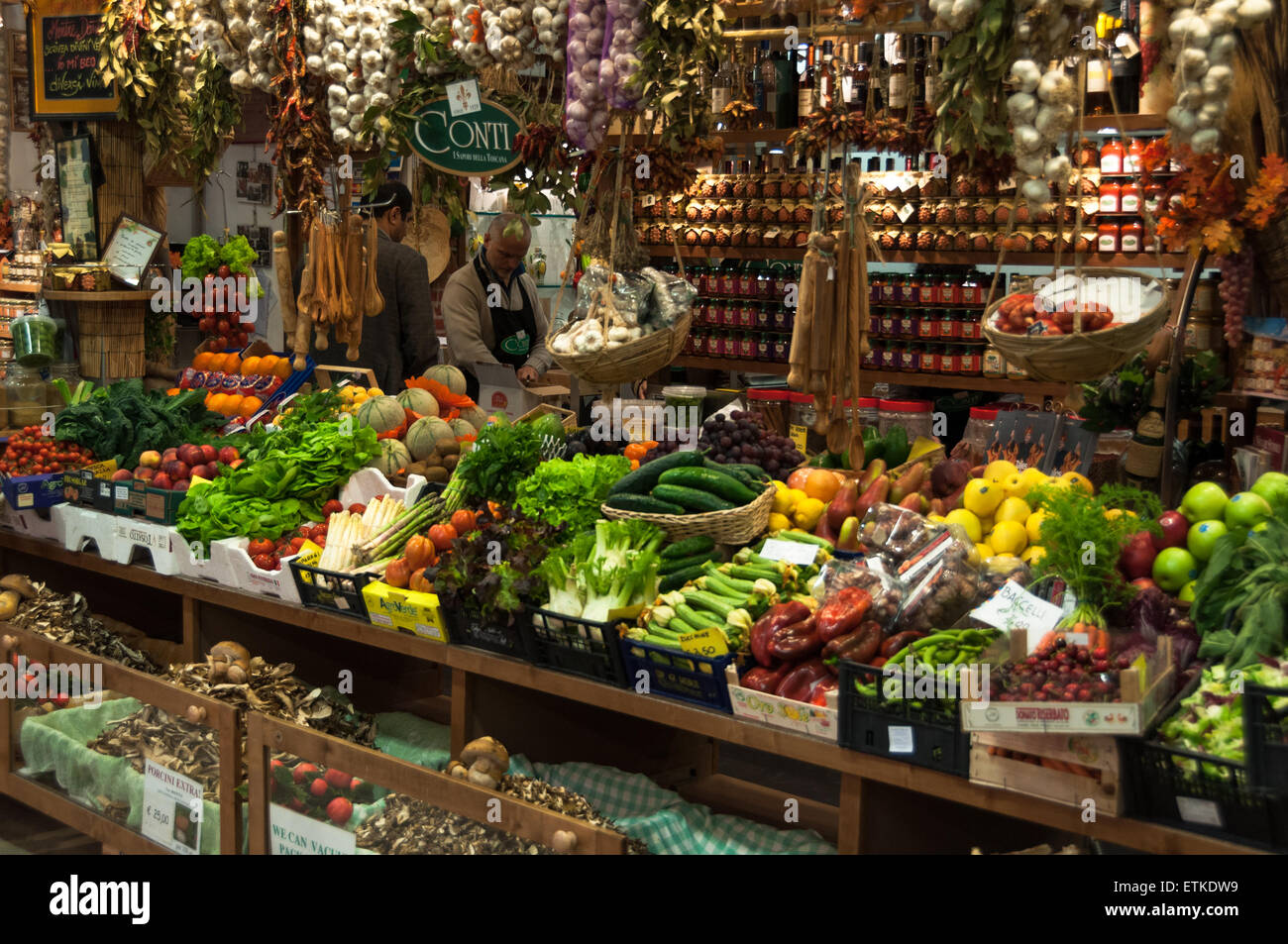 Interior of the Mercato Centrale food and flower market in Florence, Italy - Stock Image