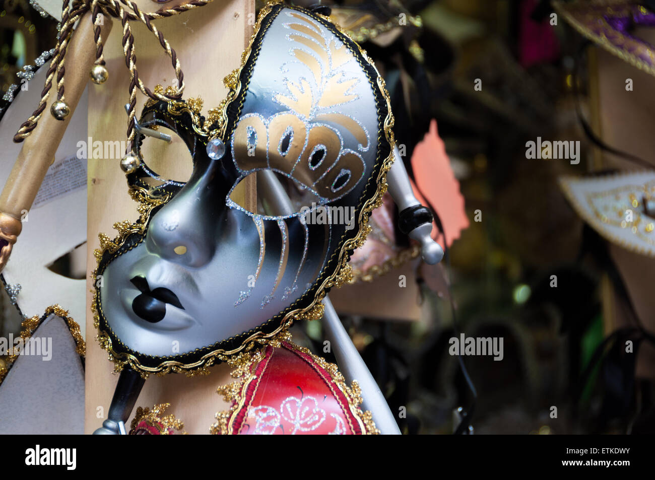 Venetian mask at the Mercato Centrale market in Florence, Italy - Stock Image