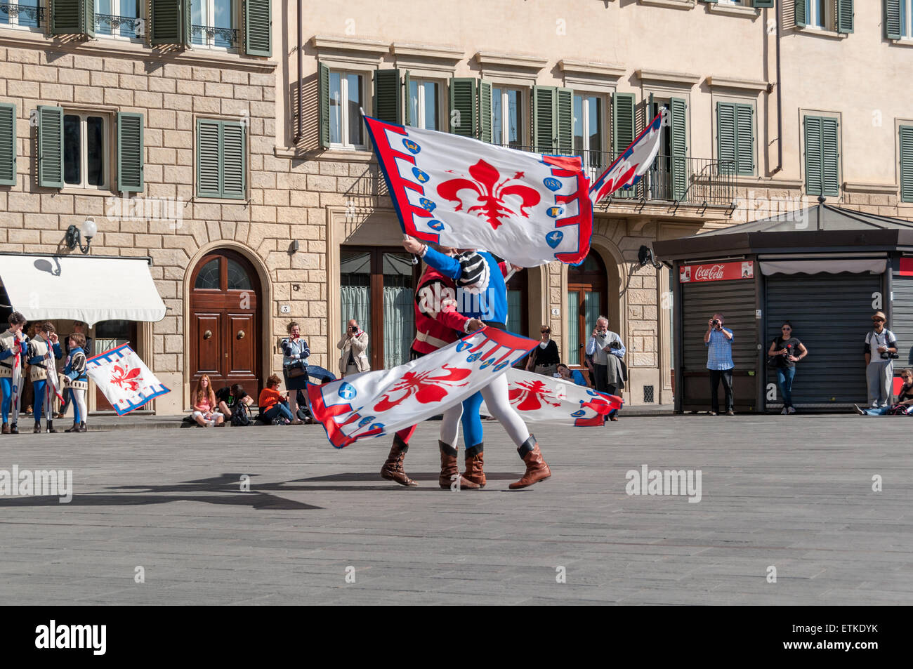 "The historic parade before the 2013 Calcio Fiorentino (also known as calcio storico ""historic football"") Stock Photo"