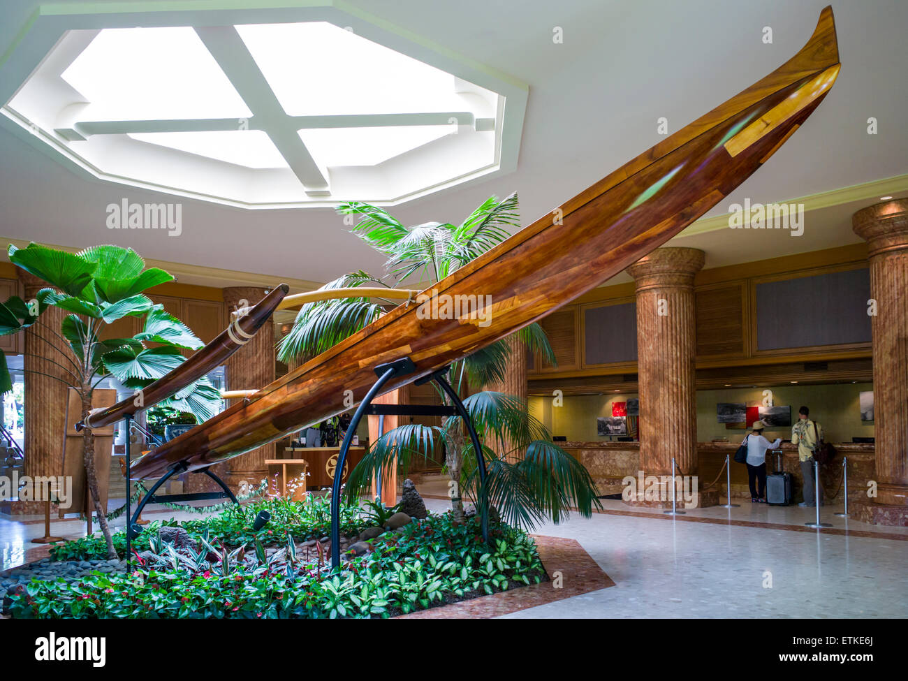 The antique 'Princess: Koa outrigger canoe, Kaua'i Marriott Resort; Kalapaki Bay, Kaua'i, Hawaii, USA - Stock Image