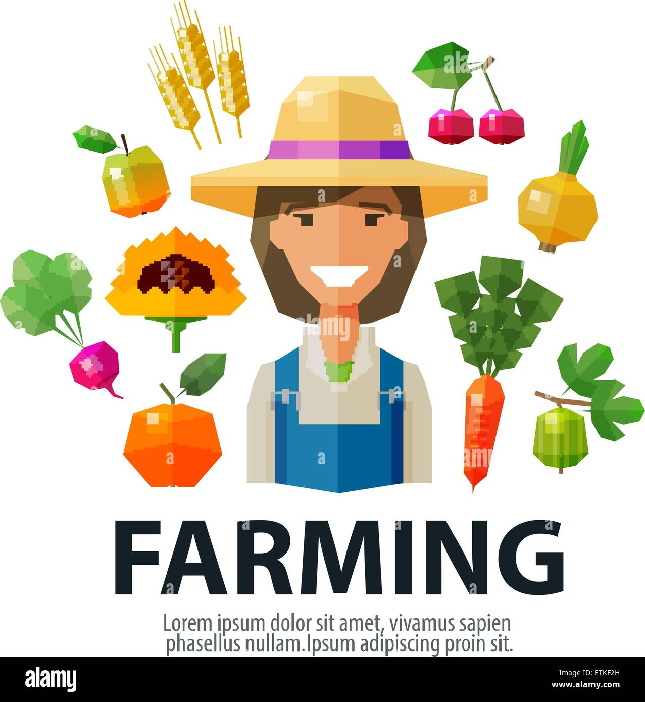 farming, farmer, farm vector logo design template. gardening, horticulture or fresh food icon - Stock Image
