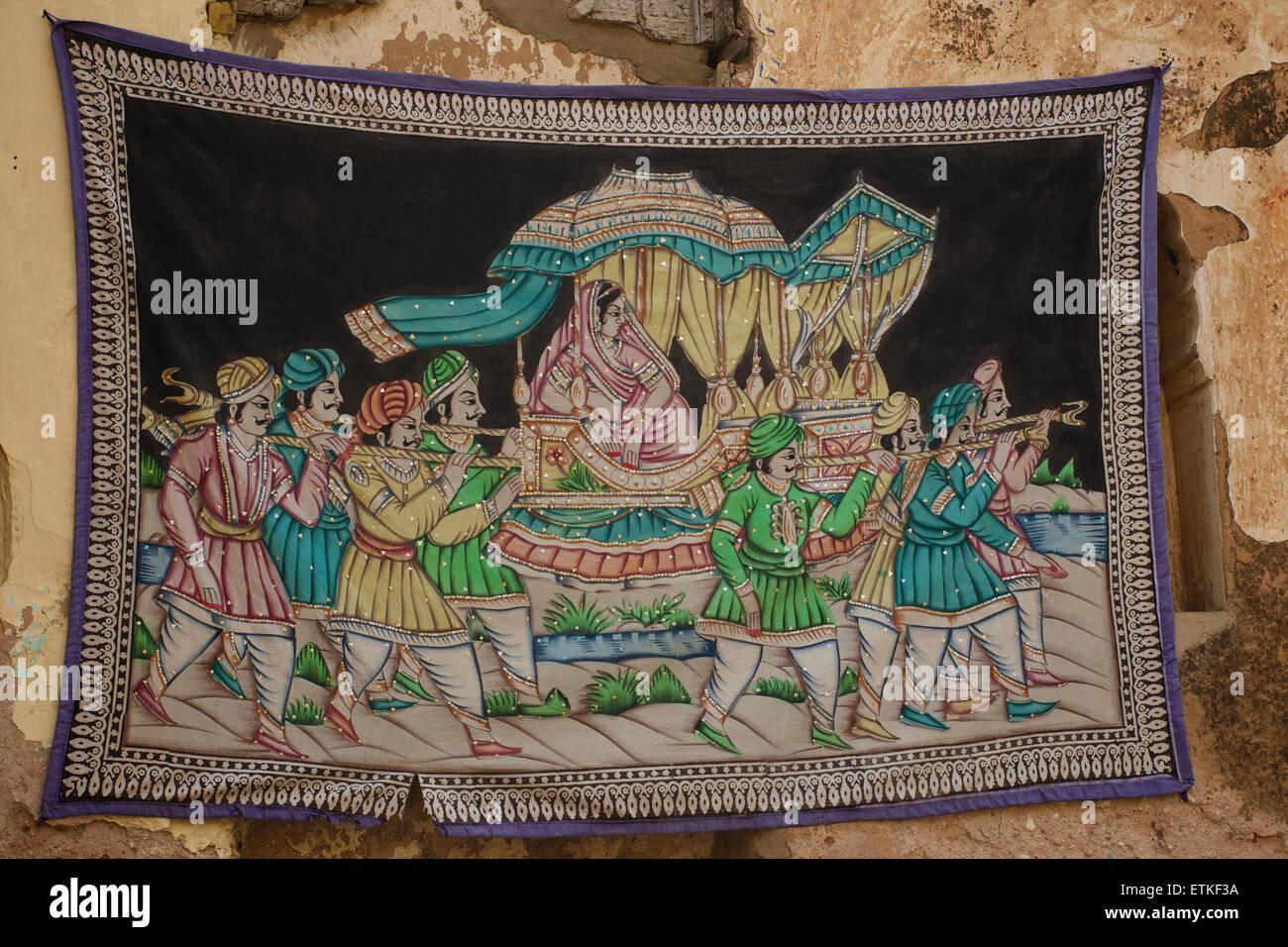 Indian textile souvenir. Mandawa, Shekawati region, Rajasthan India - Stock Image