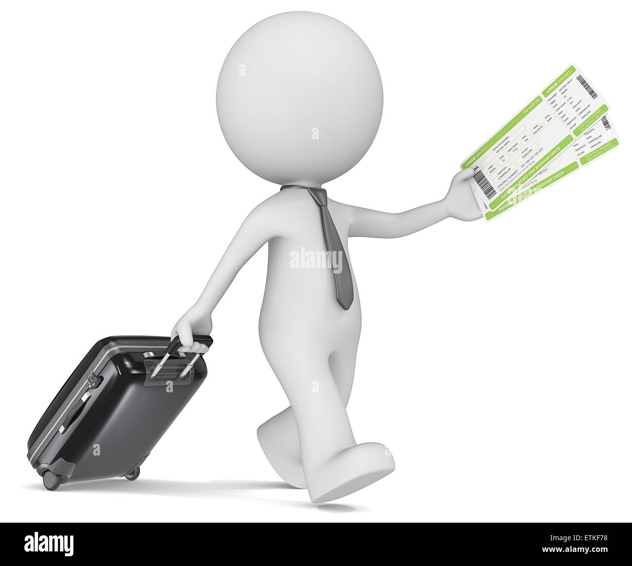 The dude 3D character with tie holding suitcase and airline tickets. - Stock Image