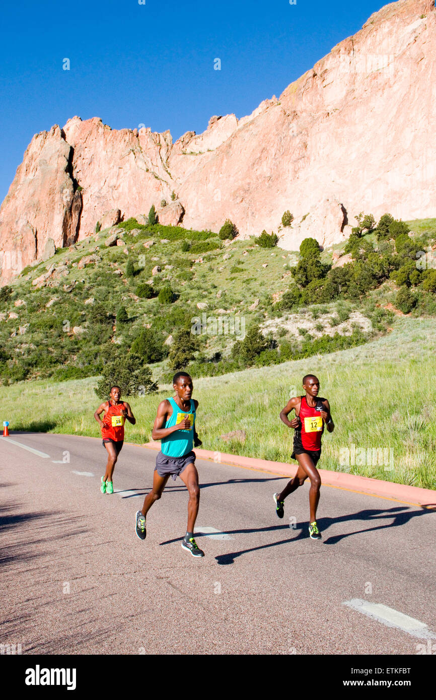 Lead runners in the Garden of the Gods 10M run. Stock Photo