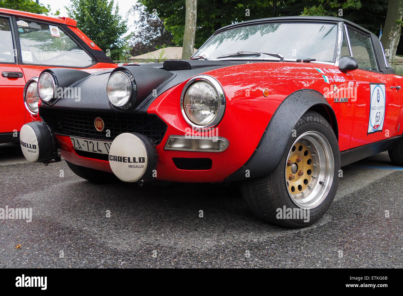 turin italy 14th june 2015 closeup view of a fiat 124 spider stock photo 84023027 alamy. Black Bedroom Furniture Sets. Home Design Ideas