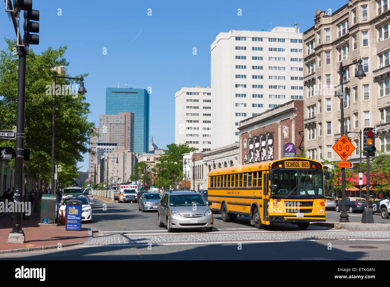 View towards downtown from Huntington Avenue in Boston, Massachusetts. - Stock Image