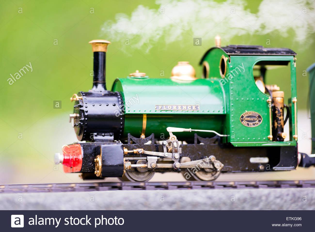 Hereford Society of Model Engineers model steam train railway loco. Stock Photo