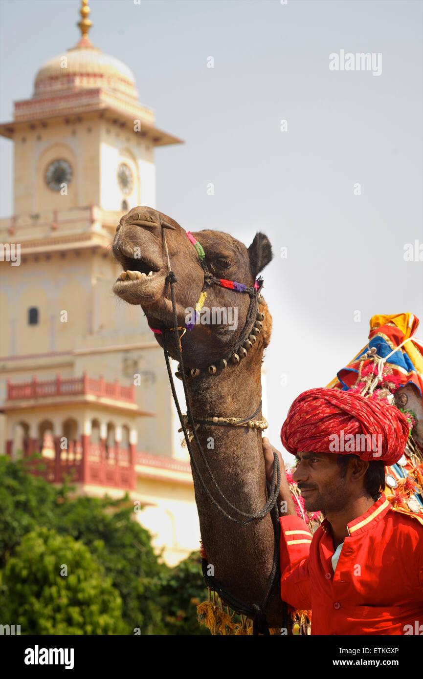 Indian man with camel. Palace of Jaipur, Jaipur, Rajasthan, India - Stock Image