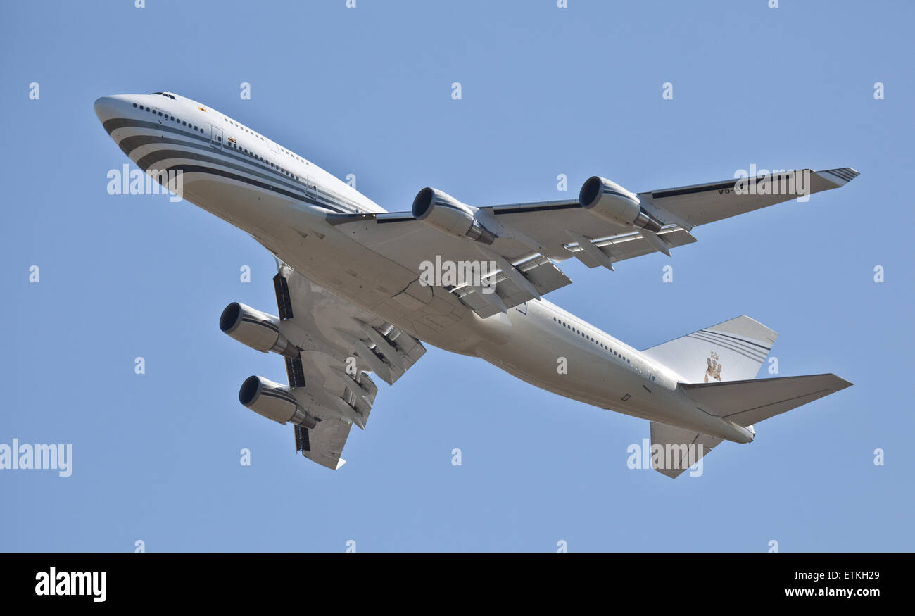 Brunei Government Boeing 747 V8-ALI departing London-Heathrow Airport LHR - Stock Image
