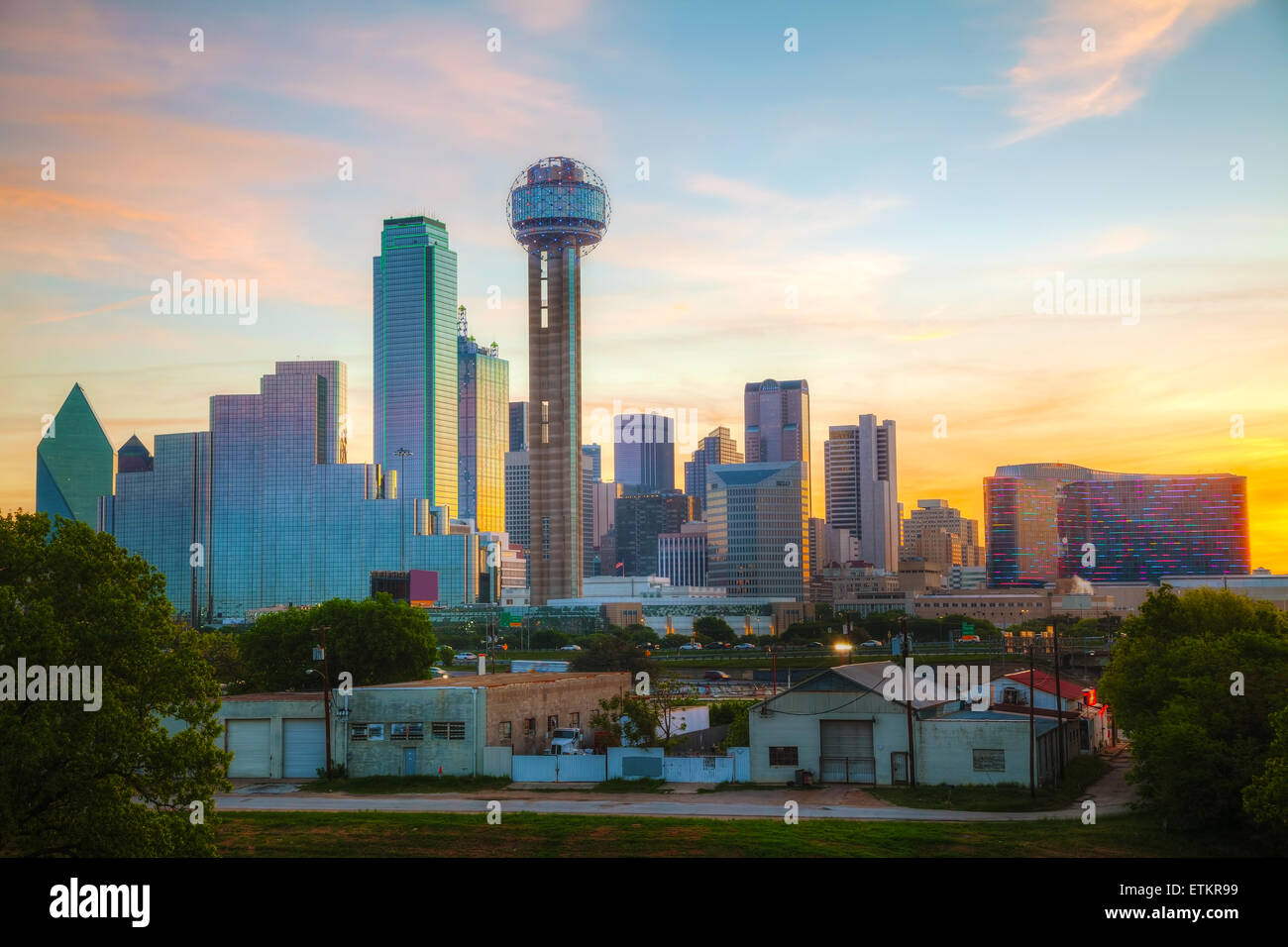 Overview of downtown Dallas in the morning - Stock Image