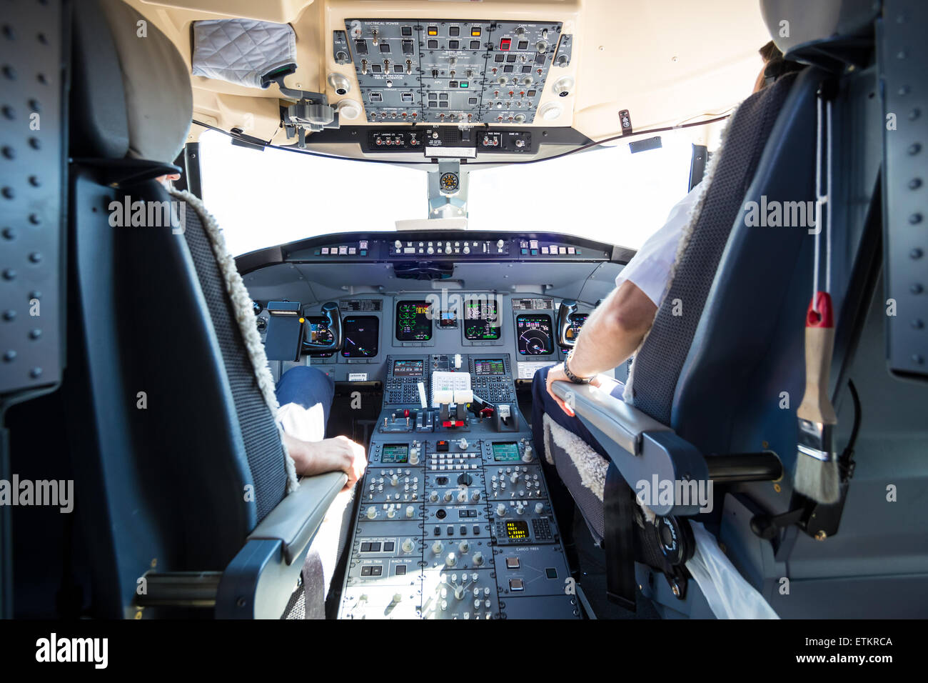Interior of airplane cockpit. - Stock Image
