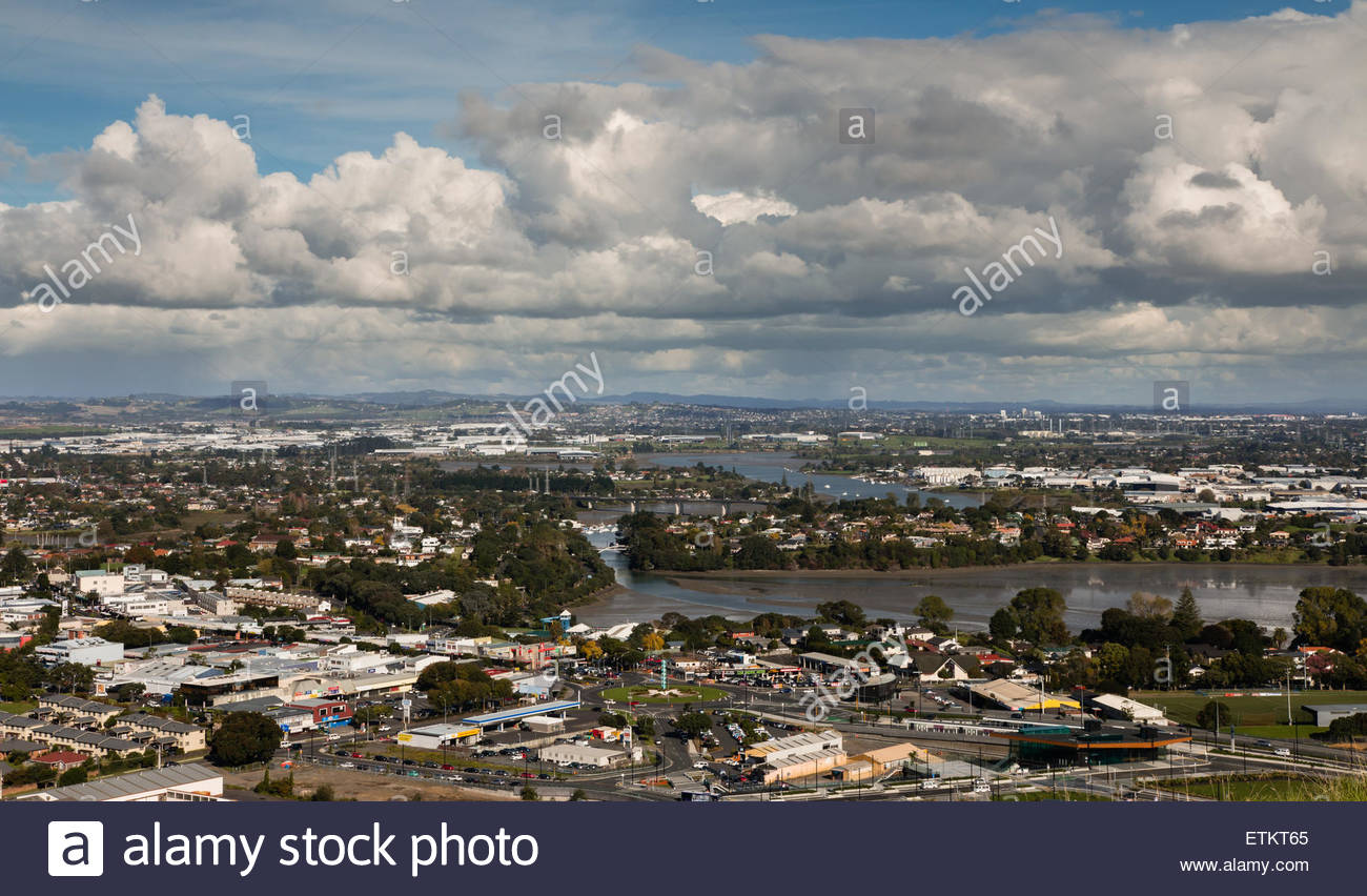 Bird-eye view to Auckland city from mt.Wellington - Stock Image